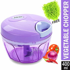 Smile Mom Handy Vegetable Chopper, Cutter for Kitchen, 3 Stainless Steel Blade with Free Microfiber Gloves (400 ML)