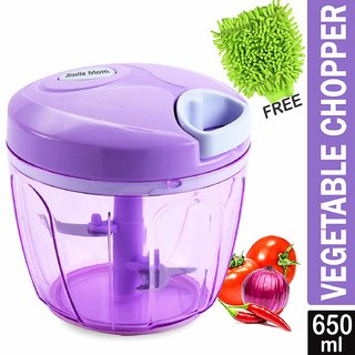 Smile Mom Chefs Vegetable Chopper, Cutter for Kitchen, 3 Stainless Steel Blade with Free Microfiber Gloves (650 ML)