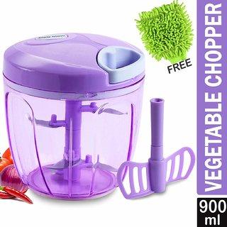 Smile Mom Turbo Vegetable Chopper, Cutter, Whisker for Kitchen, 5 SS Blade + Whisker Blade with Free Microfiber Gloves (900 ML)