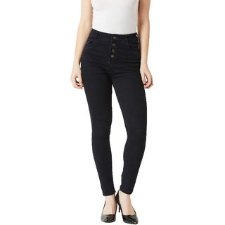 Miss Chase Women's Black Skinny Fit High Rise Clean Look Regular Length Stretchable Denim Jeans