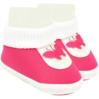 Neska Moda Baby Boys And Baby Girls Pink Soft Slip On Booties For 0 To 6 Months BT377