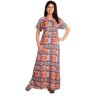 Buy IMJI Nightwear Printed Multicolour Peter Pen Collar Rayon Long Nighty  For Women Size S M Online - Get 0% Off a893adb79