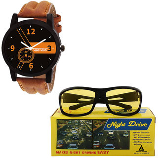 Ow-NVUV400 Wake Wood Watches With Free Sunglasses