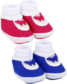 Neska Moda Baby Boys And Baby Girls Blue And Pink Soft Slip On Booties For 0 To 6 Months