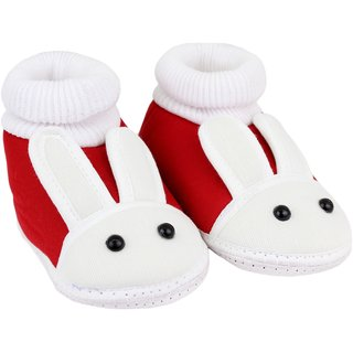 Neska Moda Baby Boys And Baby Girls Red Soft Slip On Booties For 0 To 6 Months BT372