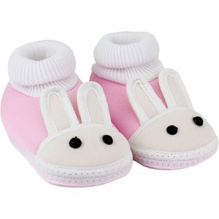 Neska Moda Baby Boys And Baby Girls Pink Soft Slip On Booties For 0 To 6 Months BT373