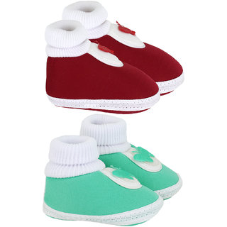 Neska Moda Baby Boys And Baby Girls Red And Green Soft Slip On Booties For 0 To 6 Months