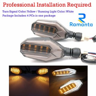 Ramanta's U-Shaped LED Turn Signal Indicators DRL Light Lamps for Bike (Set of 4, White  Amber)