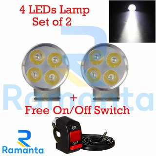 Ramanta 4 LED Small Round Fog Light Lamp White LED Light with Switch for Motorcycle and Cars (12V, White, 2 PCS)