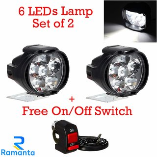 Ramanta 6 LED Fog Light Waterproof Spot Beam Pod Driving Work Light With Switch for Motorcycle and Cars (10W, White, 2 PCS)