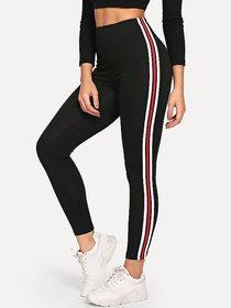3 stripes Side Narrow White Red White Stripes Stretchable Trendy Legging / Gym Wear / Yoga Wear /Sport's Wear