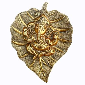 Gifts  Decor Metal Wall Hanging Of Lord Ganesha On Gold Leaf, Pan Patta Decorative Showpiece
