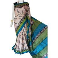 Bursana Beige color base sonamukhi silk saree with block print work Bjt sb 73