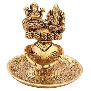 Gifts  Decor Antique Gold Plated Hand Diya with Laxmi Ganesh Ji Idol