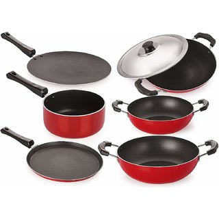 buyers high qualiy Non-Stick Aluminium Cookware Set of 6-Pieces tawa fry pan kadai