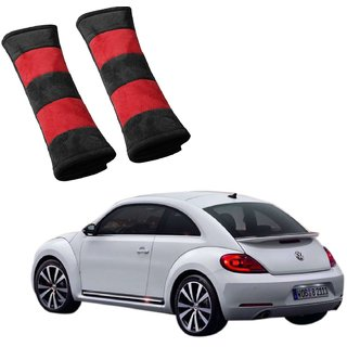 Auto Addict Car Seat Belt Cushion Pillow (Red Black) -2 Pieces For Volkswagen Beetle