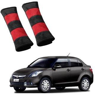 Auto Addict Car Seat Belt Cushion Pillow (Red Black) -2 Pieces For Maruti Suzuki Swift Dzire Type-2(2011-2017)