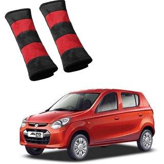 Auto Addict Car Seat Belt Cushion Pillow (Red Black) -2 Pieces For Maruti Suzuki Alto 800