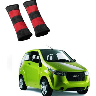 Auto Addict Car Seat Belt Cushion Pillow (Red Black) -2 Pieces For Mahindra Reva
