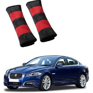 Auto Addict Car Seat Belt Cushion Pillow (Red Black) -2 Pieces For Jaguar XF