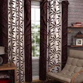 HomeStore-YEP Floral Polyester Window Curtain(Pack of 2) (Color - Brown, Size 4 x 5 Ft)