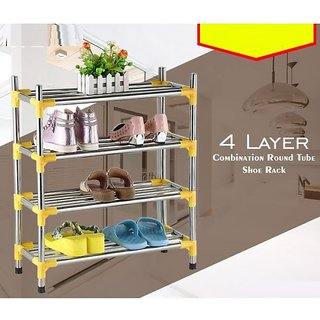 Three Secondz 4 Layers  Stainless Steel Goods Organizer Shelves Shoes Rack Stand Holder ~ Random Color
