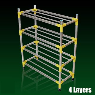 Three Secondz Shoe Rack Organizer 4 Layers  Layers Stainless Steel New  ~ Random Color