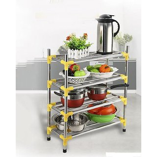 Three Secondz 4 Layers Stackable Stainless steel Shoe Rack Stand Storage Organiser Holder ~ Random Color