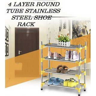Three Secondz Shoe Rack Stainless Steel Shoe Storage Stackable Shelves of Shoes  ~ Random Color