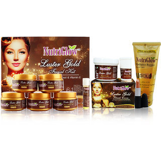 Luster Gold facial kit and Luster Gold Bleach cream and Gold radiance booster Face Wash Kit and Lipstick