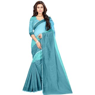 Latest Designer Skyblue Color Cotton Material Saree With Blouse By Rise On Fab (RFDilasaSkyblue)