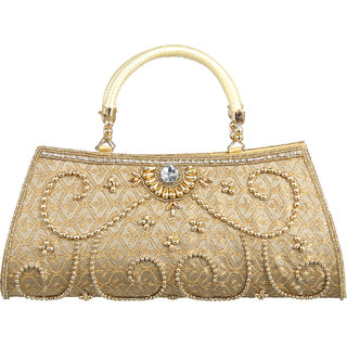 Allinone2020 Women Stylish Gold Handbag Clutch Purse