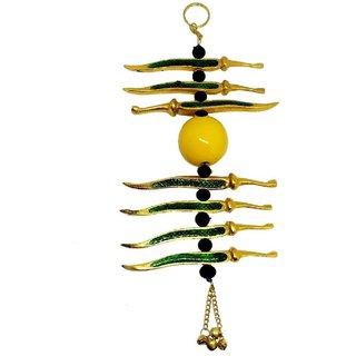 Gifts  Decor Gold Plated Nimbu Mirchi Hanging, Najar Batoo, Evil Eye Protector for Door, Shop, Car Hanging