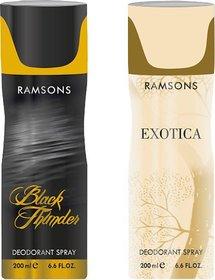 Ramsons Black Thunder+ Exotica Body Spray - For Men  Women,200 ML EACH ,PACK OF 2
