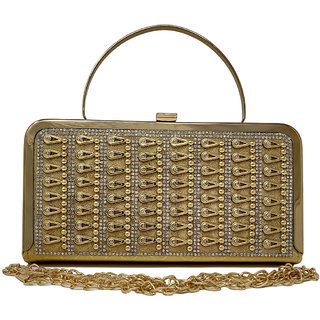 Rish Gold Designer Box Clutch