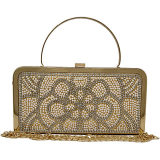 Rish Gold Floral Party Box Clutch