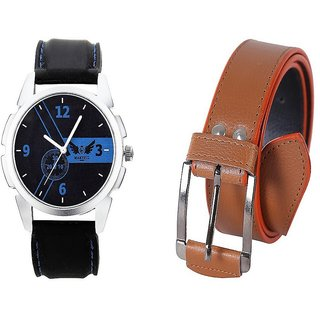 Martell Analog Watch and Stylish Belt Combo For Men/Boy's (Synthetic leather/Rexine)