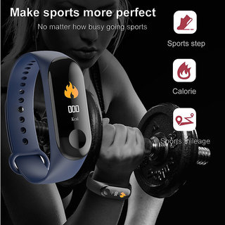 Tech Gear M3 Smart Band Wristband Heart Rate Fitness Tracker Sleep Monitor  Waterproof Watch M3 Fitness Band, Blue