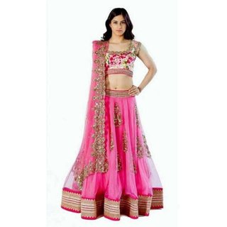575004e357 Buy Florence Pink Bangalore Silk Embroidered Semi-Stitched Lehenga Choli  Online @ ₹899 from ShopClues
