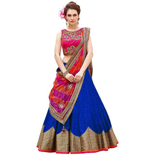 Florence Blue Bangalore Silk Plain Semi-Stitched Lehenga Choli