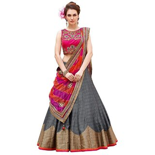 Florence Grey Bangalore Silk Plain Semi-Stitched Lehenga Choli