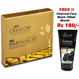 OxyGlow Gold Facial Kit 63gm (Free OxyGlow Charcoal Face Wash 100ml)