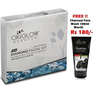 OxyGlow Diamond Facial Kit 63gm (Free OxyGlow Charcoal Face Wash 100ml)