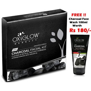 OxyGlow Charcol Facial Kit 63gm with (Free OxyGlow Charcoal Face Wash 100ml)