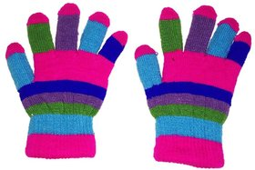 PLATINUM EXCLUSIVE multi colored kids woolen Gloves for Winters, 4-8 years (Pack of 1) in SALE!