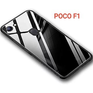 RGW BACK  CASE COVER FOR REDMI POCO F1 TOUGHENED GLASS BACK CASE COVER BLACK