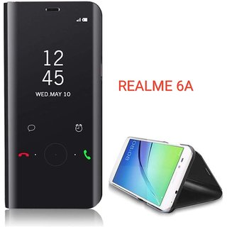 RGW BACK  CASE COVER FOR REDMI 6A MIRROR S-VIEW STAND FILP COVER BLACK