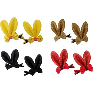 Cloudaby Rabbit Ear Shaped Hair Clips for Little Girls (Random Assorted Colour) - 2 pairs
