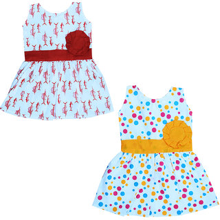Flora's Self Design Cotton Frocks For Girls ( Combi pack of 2)