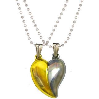 Styles Creation Couple Lover's  Valentine Broken Two Half Heart Shape Love Pendant Necklace Locket  Chain Jewellery